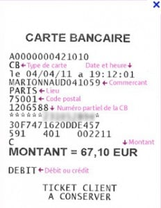 Ticket carte bancaire